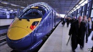 Hitachi Class 395 Javelin train at St Pancras Station in London