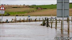 scene of flooding in Aberdeenshire in November 2009