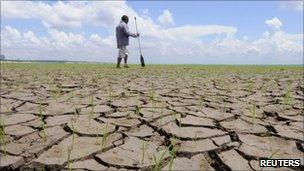 A man walks on the muddy bottom of the Rio Negro on 26 October