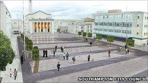 An artist's impression of the planned refurbishment of Guildhall Square