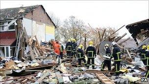 Rescue teams at blast scene