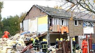 The wreckage of houses damaged by a gas blast in Salford