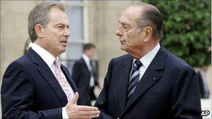 Tony Blair and Jacques Chirac, 2005