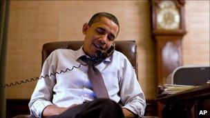 US President Barack Obama talks to John Boehner by phone, 2 November