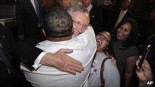Harry Reid hugs a supporter at the Nevada State Democratic election night party in Las Vegas (2 November 2010)