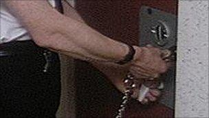 Guard locking prison door