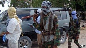 Al-Shabab fighters in Mogadishu, Somalia - 23 August 2010