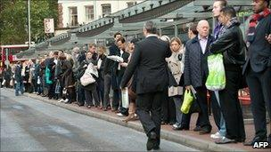 Bus stop queues at Victoria station