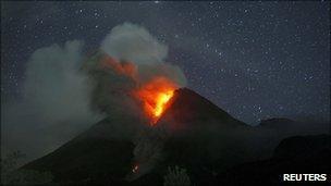 Mount Merapi volcano erupts as seen from Sidorejo village in Klaten