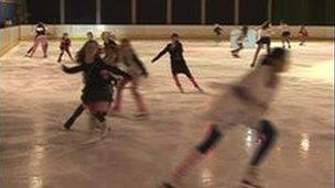 Skaters using the rink
