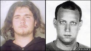 Suspects Bolano Damiano, 23 (L), and Georgios Karagiannidis, 30