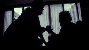Care of the elderly home help nurse silhouette generic