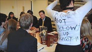 Students meeting Nick Clegg
