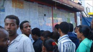 Students in Addis Ababa looking for jobs