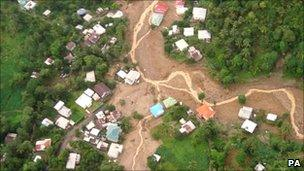 MoD handout photo of the view from a Royal Navy helicopter of the hurricane-hit island of St Lucia