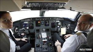 Pilots in cockpit
