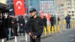 Scene of Sunday's suicide bombing in Taksim Square, Istanbul