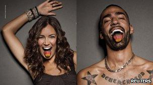 Stars in German ads - Brazilian model and TV presenter Jana Ina Zarrella (left) and DJ and rapper Harris
