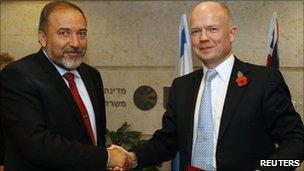Avigdor Lieberman and William Hague in Jerusalem, 3 November