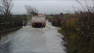 Flooded road in Cumbria