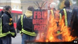 A picket line during a previous fire strike