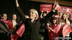 Patty Murray at an election night party