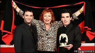 Kill Me Please director Olias Barco (r) with stars Virgile Bramly (l) and Zazie de Paris