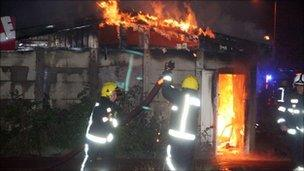 Firefighters tackle a blaze in Chingford