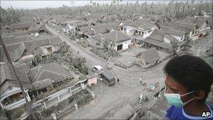 Volcanic ash from Mount Merapi covers a village in Muntilan, Central Java, 7 November