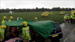 East Harling crash scene