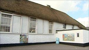 The old Cheriton Fitzpaine thatched school