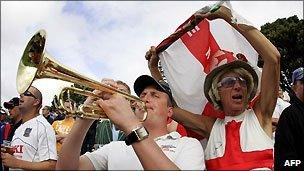 Two members of the England cricket Barmy Army