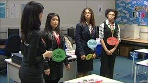 Students learning about banking at Ilford Ursuline High School