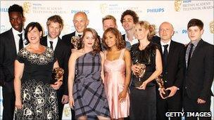 The cast and crew of Misfits at the Bafta TV Awards