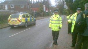 Police at the scene of the shooting in Copthorne