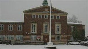 Slough Town Hall in the snow