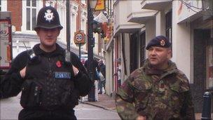 Police officer and military policeman