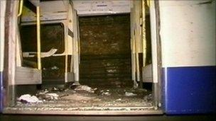 Screen grab taken from video footage taken by emergency services of the 7/7 bomb wreckage of the train near Edgware Road Tube station.