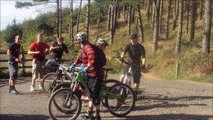 Mountain bikers in Afan Valley