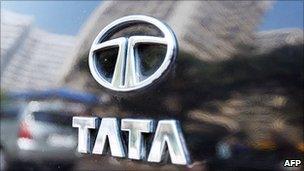 A Tata Motors badge on a car in Mumbai