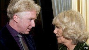 Philip Treacy with the Duchess of Cornwall at the Irish Embassy on 9 November 2010