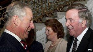 Prince Charles and Sir Terry Wogan at the Irish Embassy on 9 November 2010
