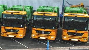 Some of the new refuse trucks