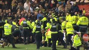 Violence at Devon derby match