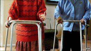Elderly women in care home