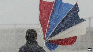 Inside out umbrella and heavy rain