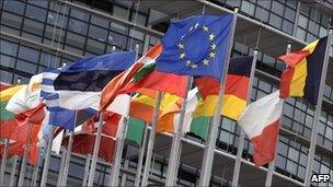 EU countries' flags in Brussels - file pic