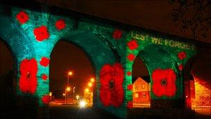 Poppies on the Victorian railway viaduct in Airdrie