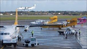 Planes at Guernsey Airport