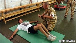 Injured British soldier in Iraq